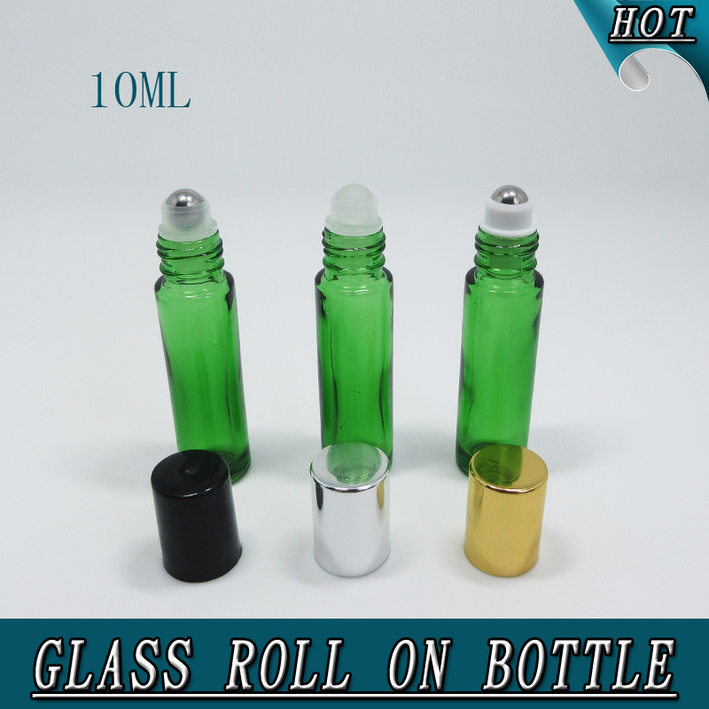 10ml Column Green Essential Oil Roll on Glass Bottle