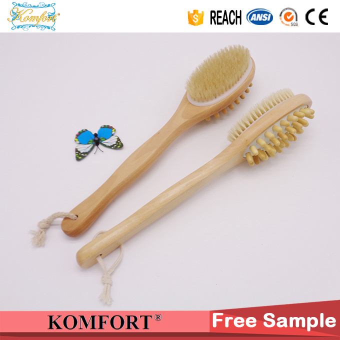 Wet Boar Bristle Skin Scrubber SPA Leg Exfoliating Bath Body Brush (JMHF-92)