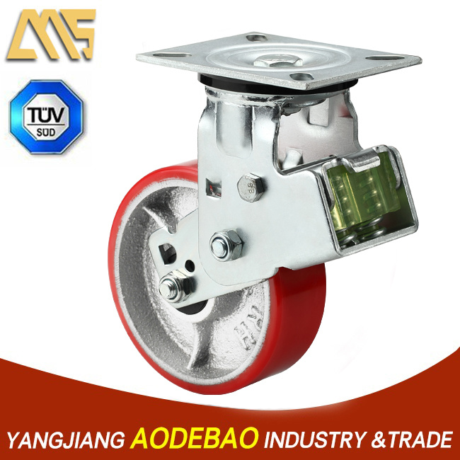 Shock Absorption Spring PU Caster Wheel