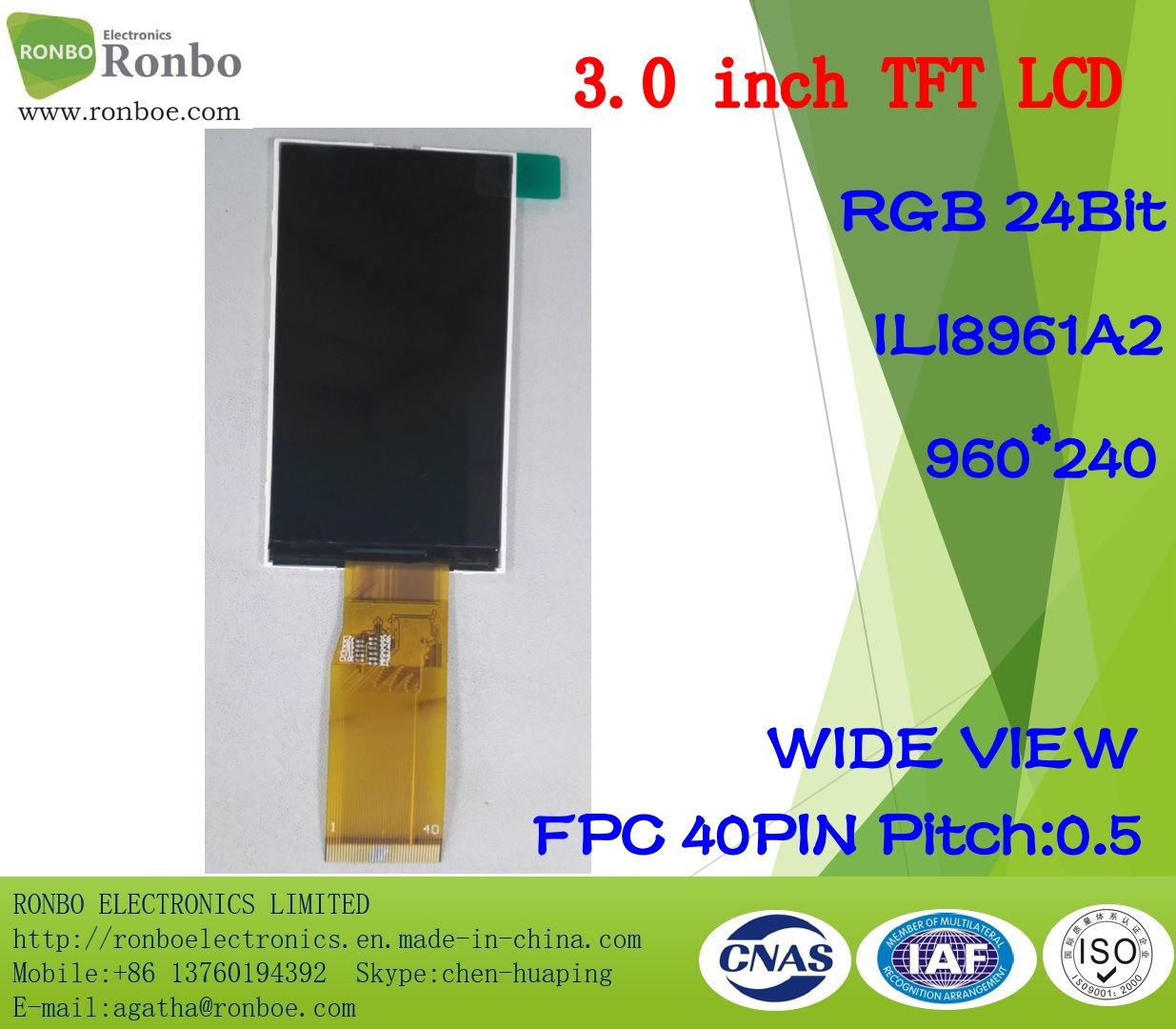 3.0 Inch 960*240 RGB TFT LCD Screen, Ili8961A2, 40pin with Option Touch Screen