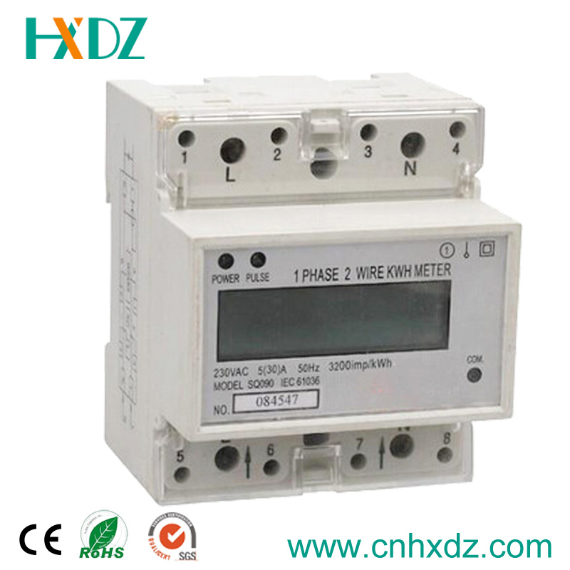 LCD Display Single Phase DIN Rail Kwh Power Meter RS485 Modbus
