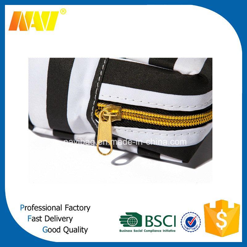 White Stripe Printing Nylon Make up Bag