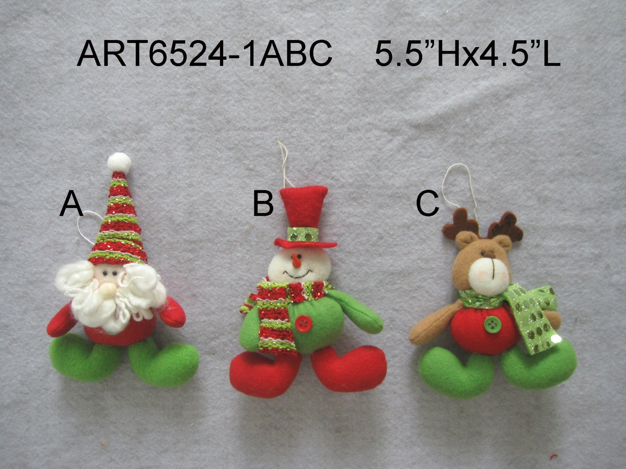 """6.5""""H Plait Stocking with Greeting Letters-4asst"""