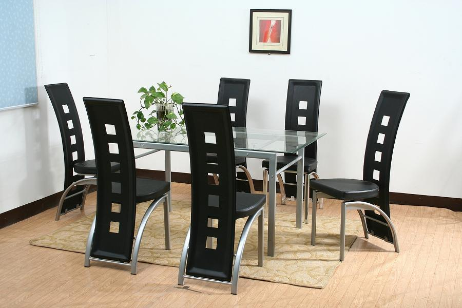 China dining table set with glass top pu gs 7068 china for Glass dining table set
