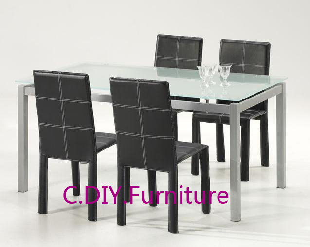 China MDT 126 Metal Glass Dining Table And Chairs China Metal Glass Dining