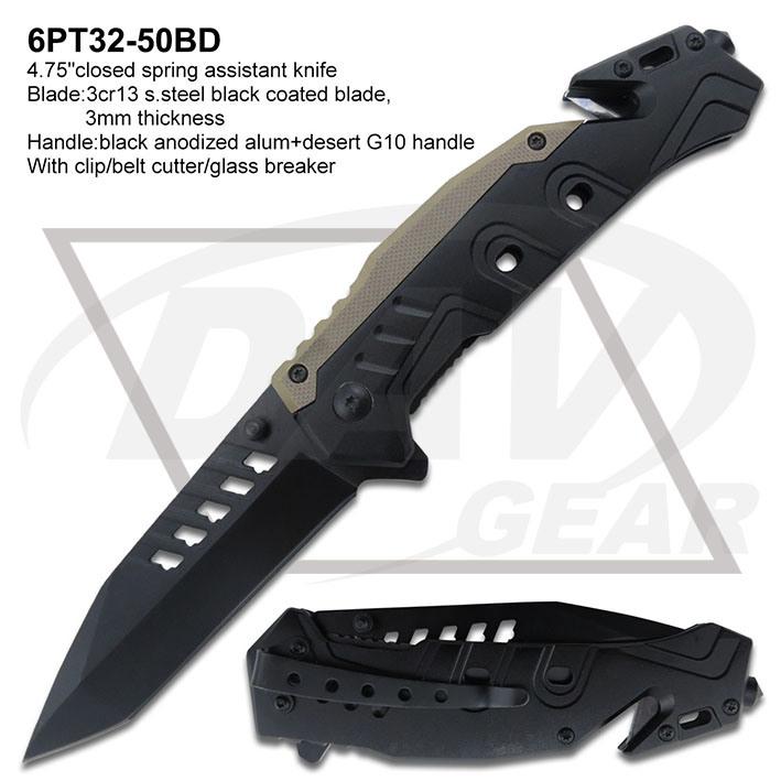 """4.5""""Spring Assistant Laser Blade Alum Handle Rescue Pocket Knife: 6PT33-45bd"""