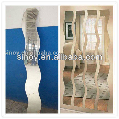 3mm to 6mm Wave S Shaped Decorative Beveled Mirror for Home Decor