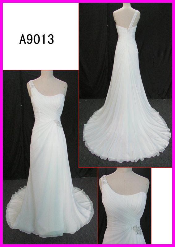 China 2014 guangzhou modest real one shoulder chiffon for Guangzhou wedding dress market