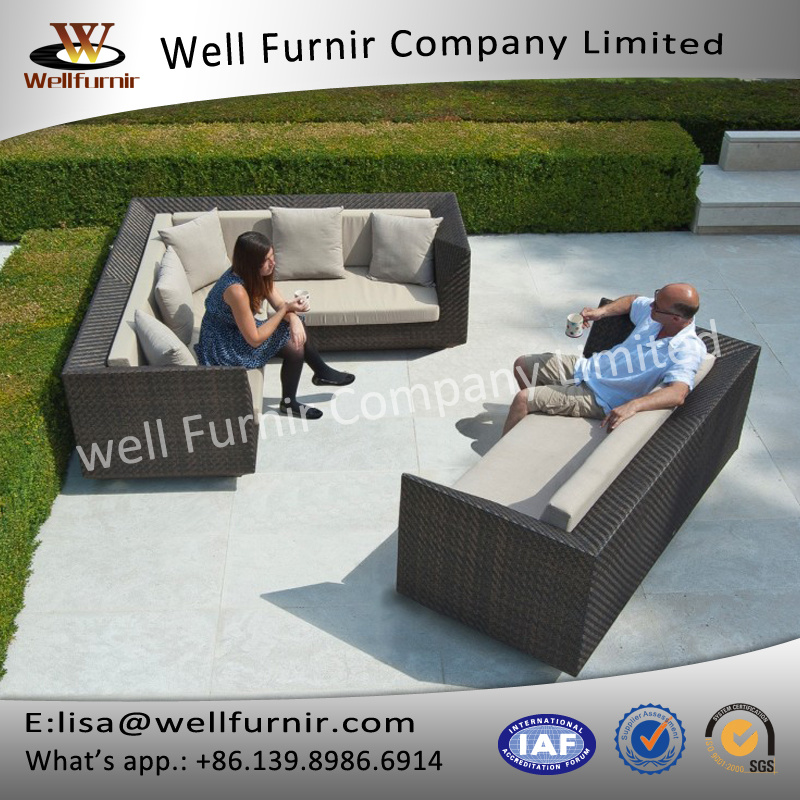 Well Furnir T-004 Triple Woven V Shape UV Proof 7 Seat Rattan Large Corner Sofa Set