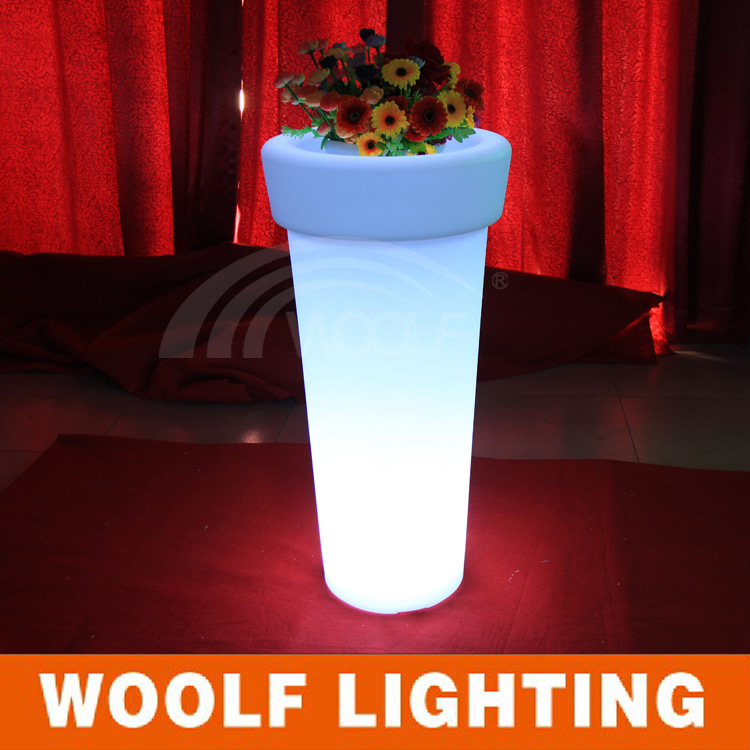 Transparent Resin Home Decorative LED Light Flower Vase