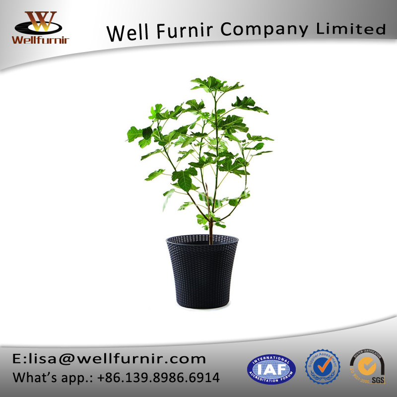 Well Furnir T-007 Durable, Weather-Resistant Open Round Design Smart Wheels Rattan Flowerpot