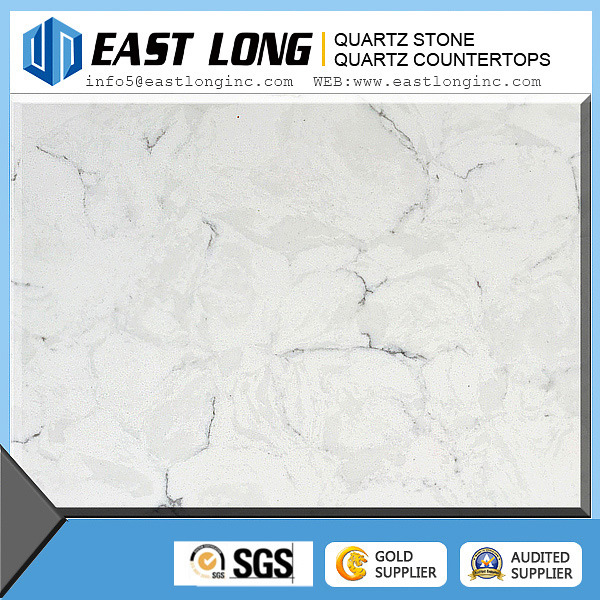 Customized Cararra White Color Artificial Quartz Stone Countertops
