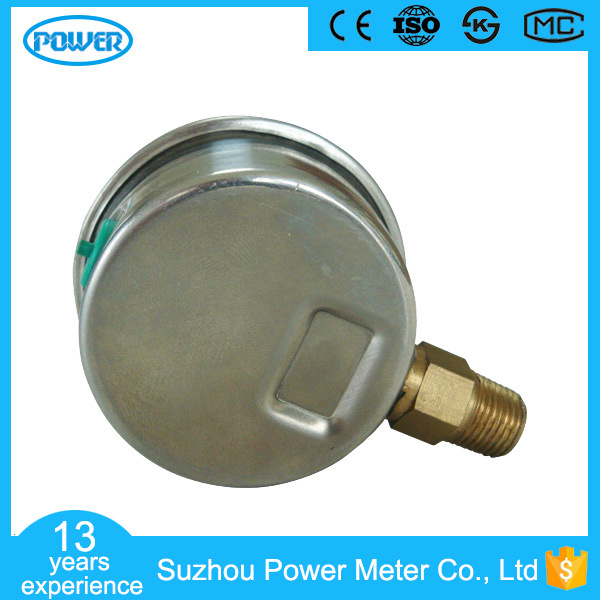 1.5inch-40mm Half Stainless Steel Bottom Thread Type Liquid Filled Pressure Gauge