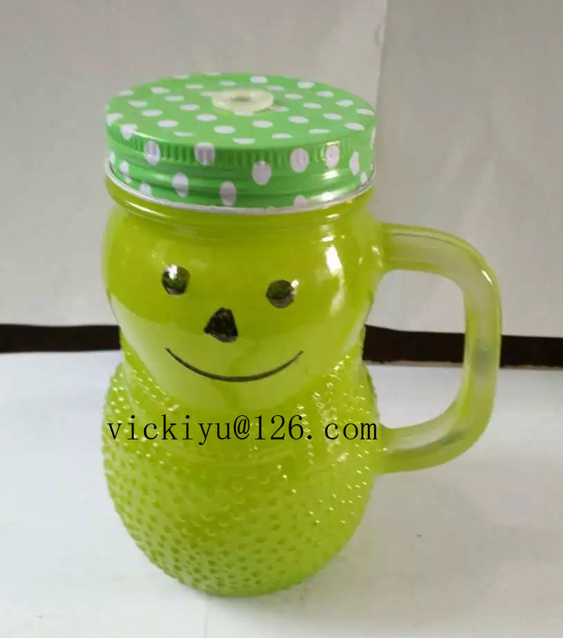 300ml Green Smile Glass Drink Jar