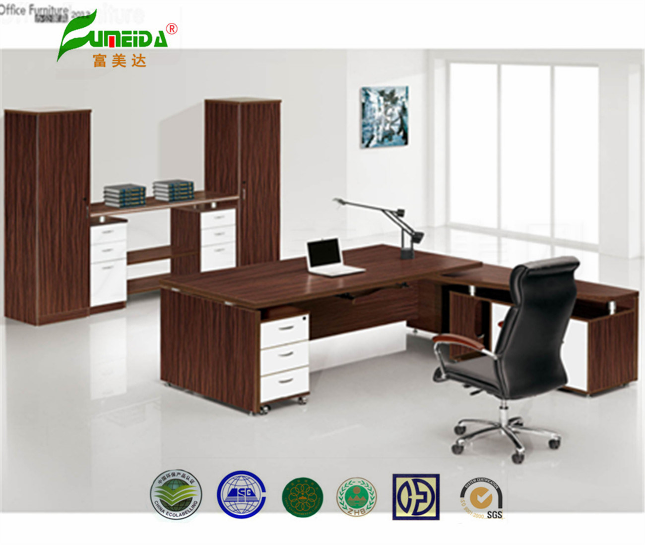 MFC High End Office Desk with Side Table