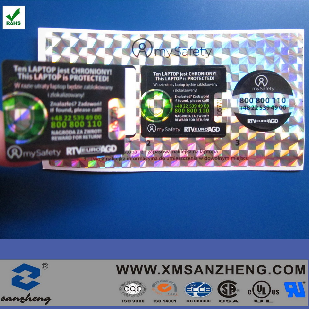 Custom Tamper Red Evident Fragile Holographic Void Warranty Security Seal Sticker