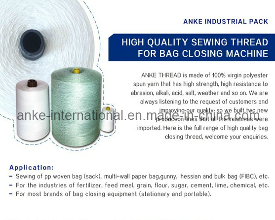 Polyester Bag Closing Thread with 7~8 Oil Lubricated, Knotless