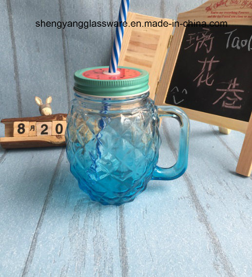 Hot Sell Pineapple Shape Glass Handle Cup/Mason Mug with Metal Cover