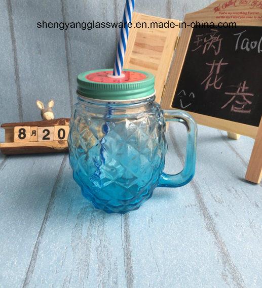 Pineapple Glass Handle Cup/Mason Mug with Metal Cover