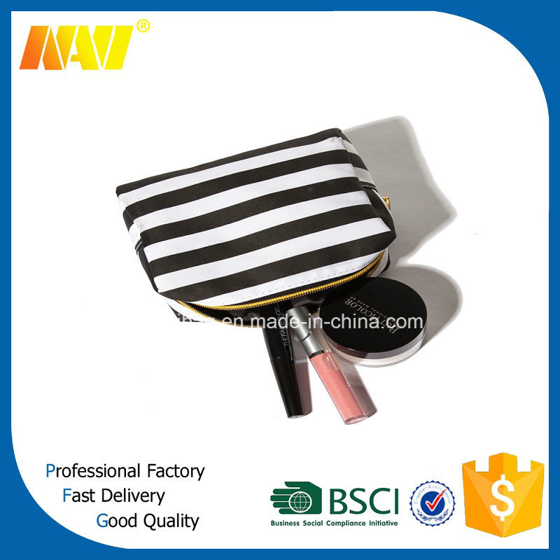 White Stripe Printing Nylon Make up Bag