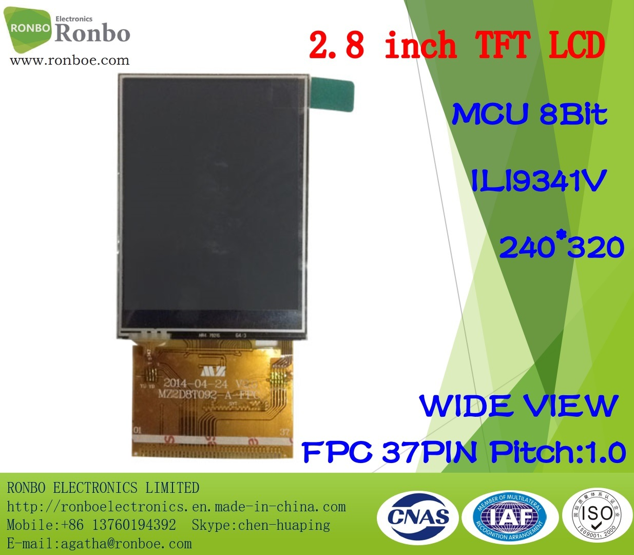 """2.8"""" 240*320 MCU 8bit 37pin TFT LCD Touch Screen, Ili9341V, for Doorbell, Medical"""