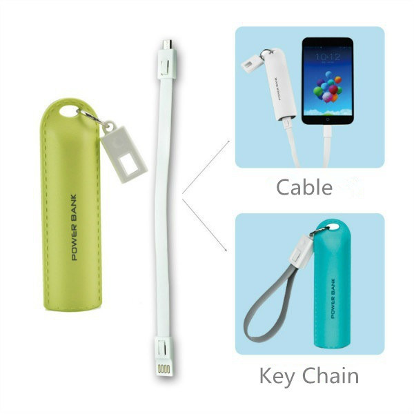 2600mAh Gift Mobile Power Bank Leather Effect Portable Phone Charger