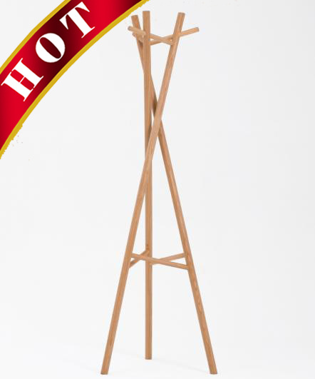 """""""Pretty Waist"""" Walnut Coated Clothes Coat Cloth Hanger Stand"""