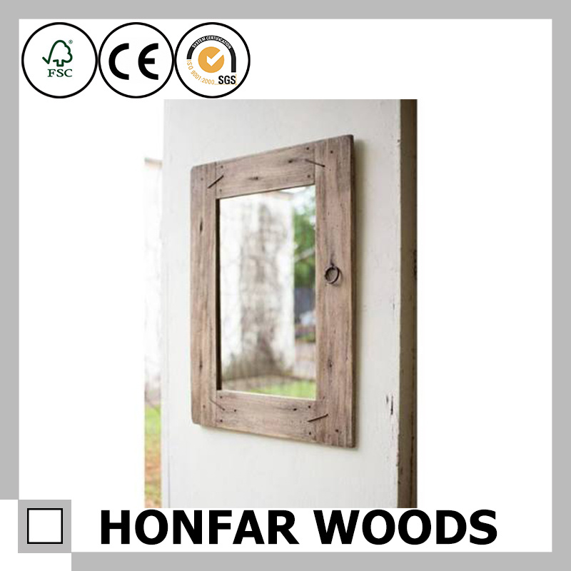 Brown Finished Wall Mirror in Wooden Frame for Bathroom
