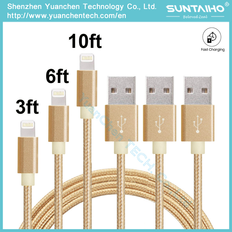 USB Data Charger Cable Nylon Braided Wire Metal Plug Micro USB Cable for iPhone 6 6s Plus 5s 5 iPad