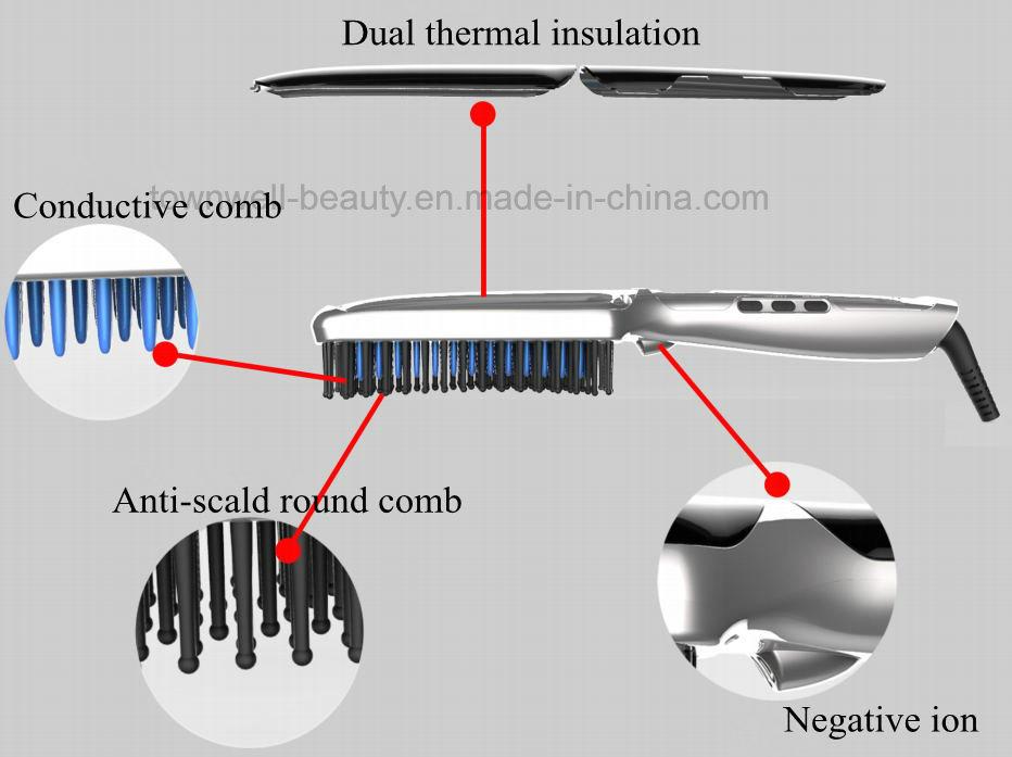 Hair Straightener Brush with Ion Generator