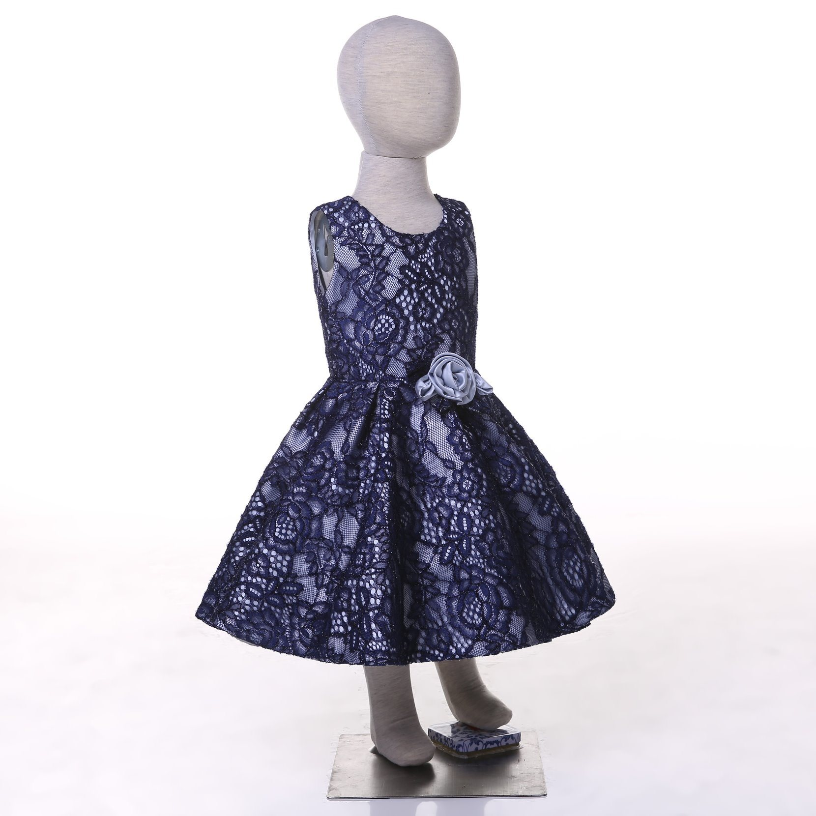 Blue Lace Flower Girl Dress