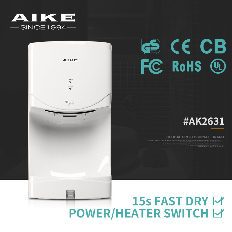 AK2631 Home Appliance Wall Mounted Auto High Speed Air Jet Hand Dryer for Bathroom