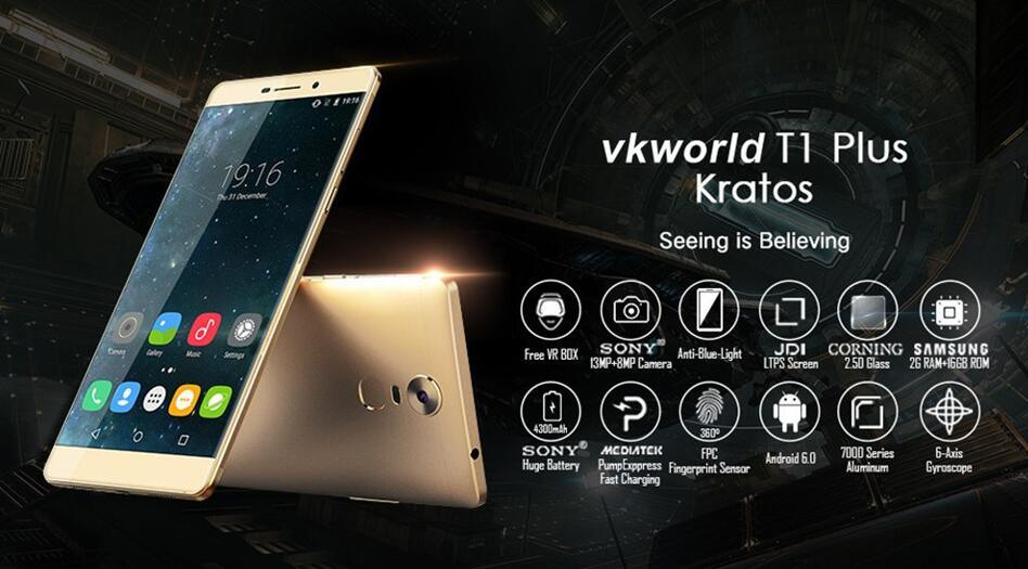Vkworld T1 Plus Kratos 6.0 Inch 4G FDD-Lte Android 6.0 Mtk6735 Quad Core 2GB RAM 16GB ROM 4300mAh Fingerprint Mobile Cellphone Smart Grey