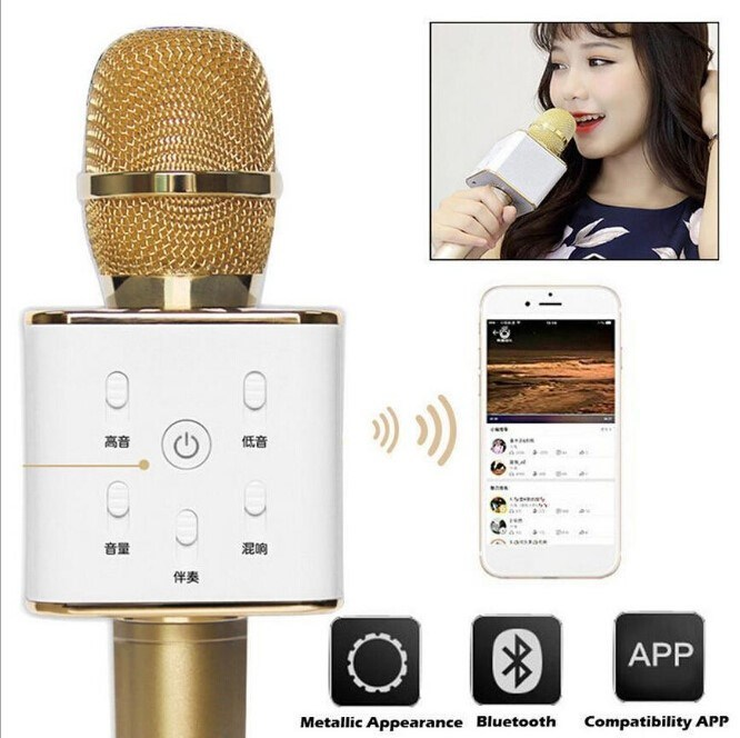 Bluetooth Loudspeaker Karaoke KTV Wireless Q7 Microphone