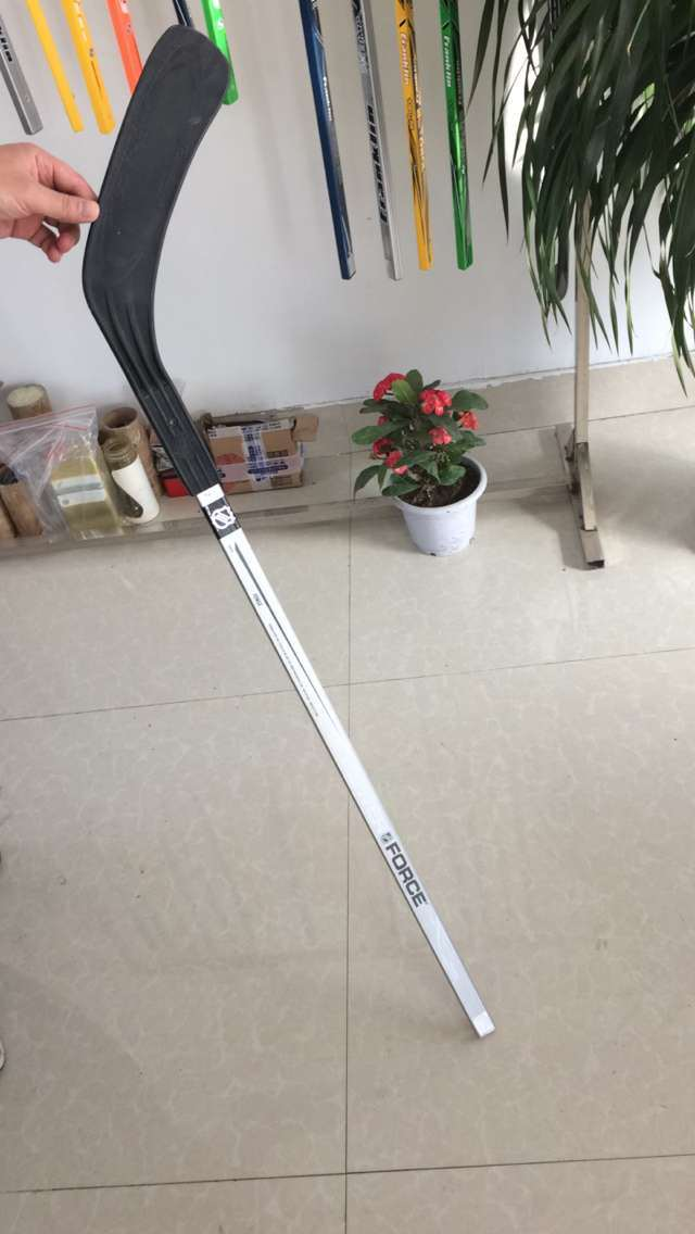 Plastic Blade Wood Shaft Hockey Stick