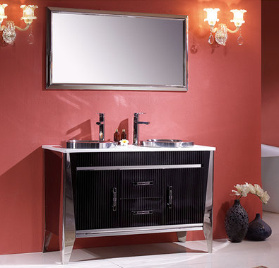 Stainless Steel Wall Hunging Metal Makeup Bathroom Cabinets (LZ-001)