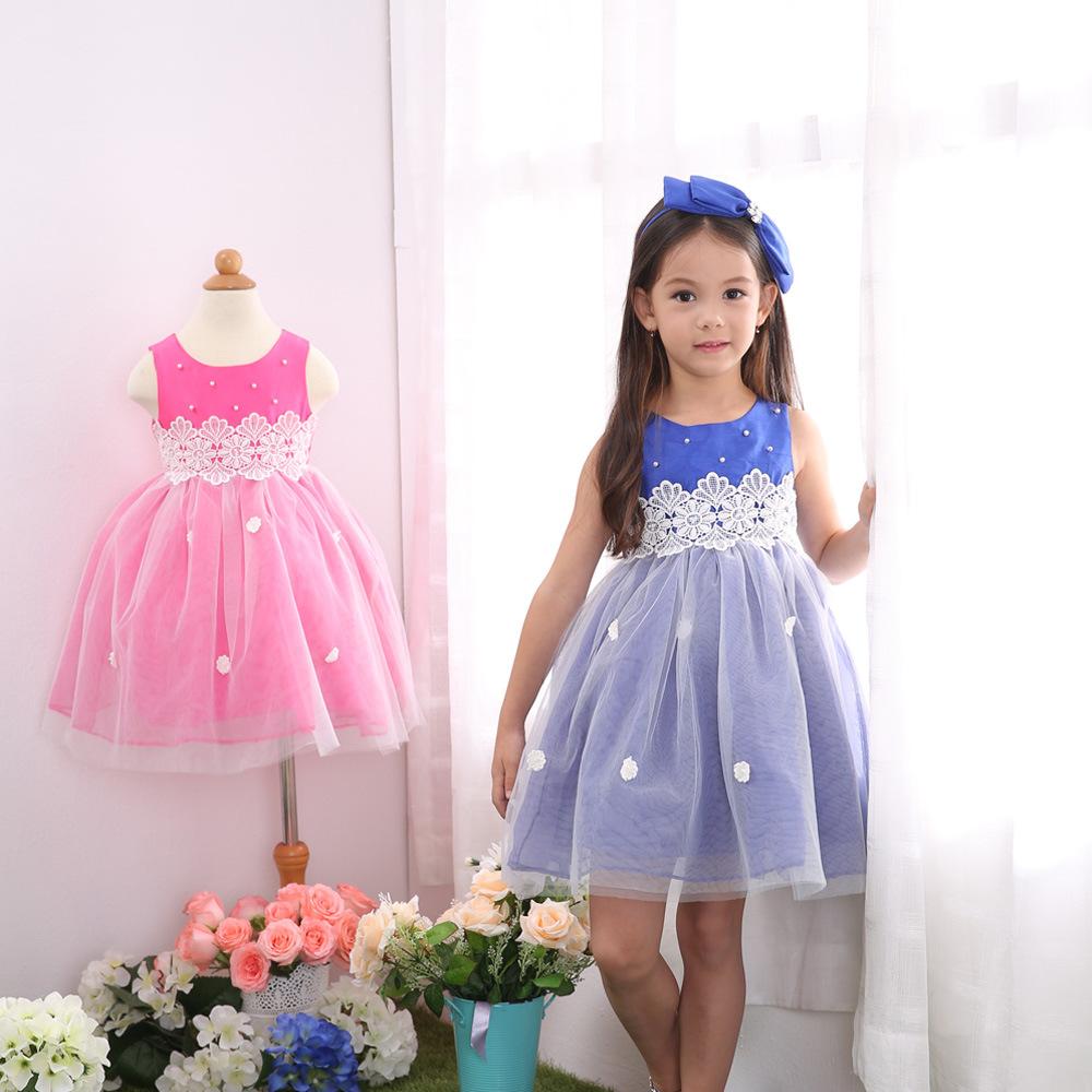China pink blue flower girl dress wedding party dress for Pink and blue wedding dresses