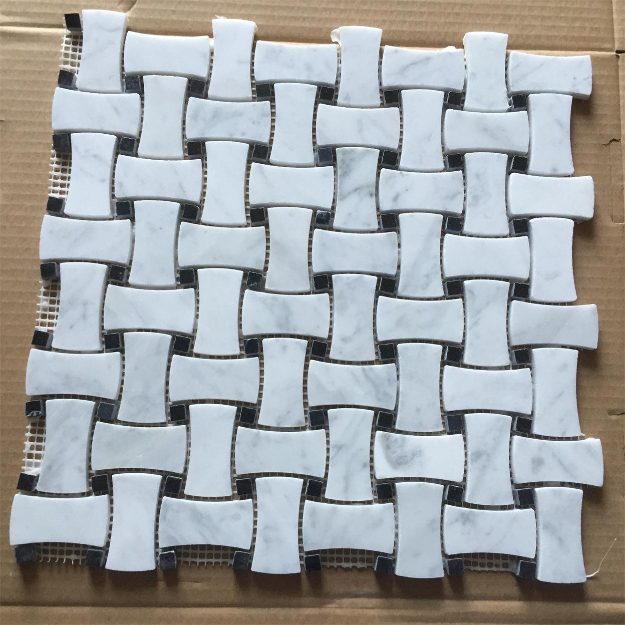 Bianco Carrara White Marble Mosaic for Bathroom Wall