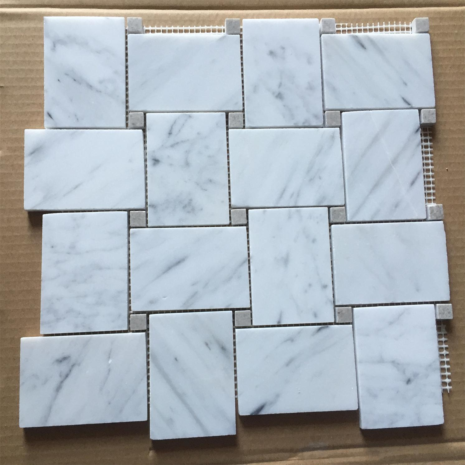 Bianco Carrara White Marble Mosaic for Bathroom Wall