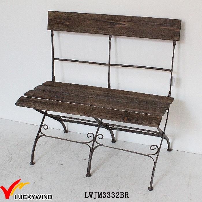 Vintage Brown Antique Folding Wood Metal Chair