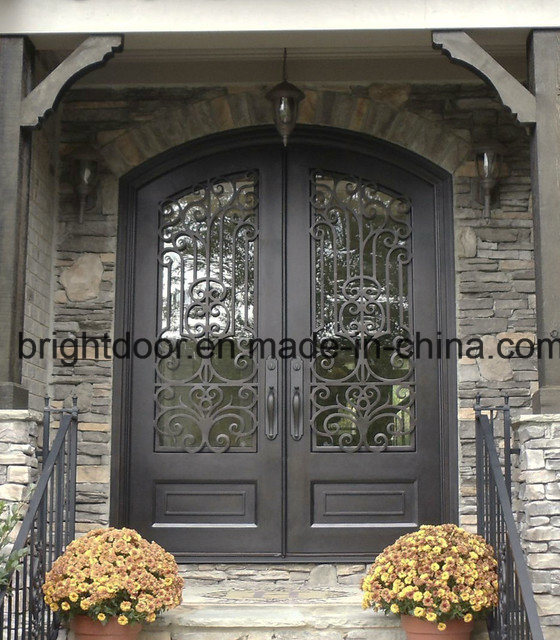 China cheap front door iron wrought main gate design for Main gate door design