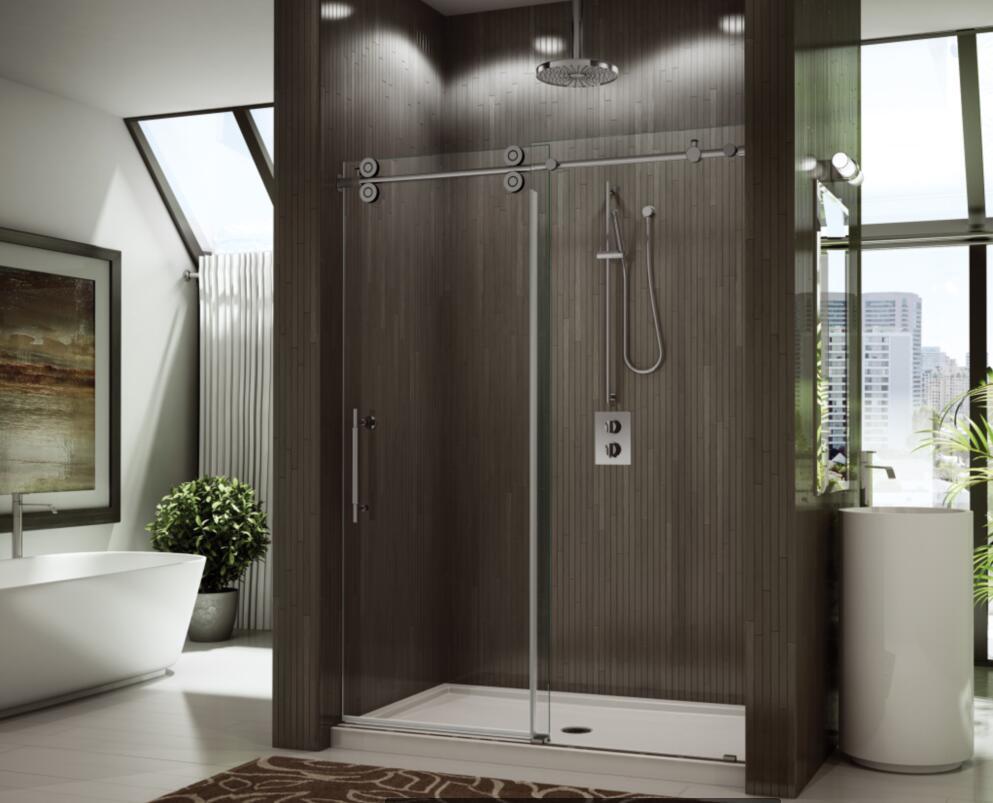 """1/2"""" Tempered Glass Large Stainless Steel Wheel Sliding Shower Door"""