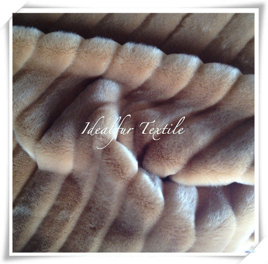 Rabbit Imitation Fur with Strip Solid Color