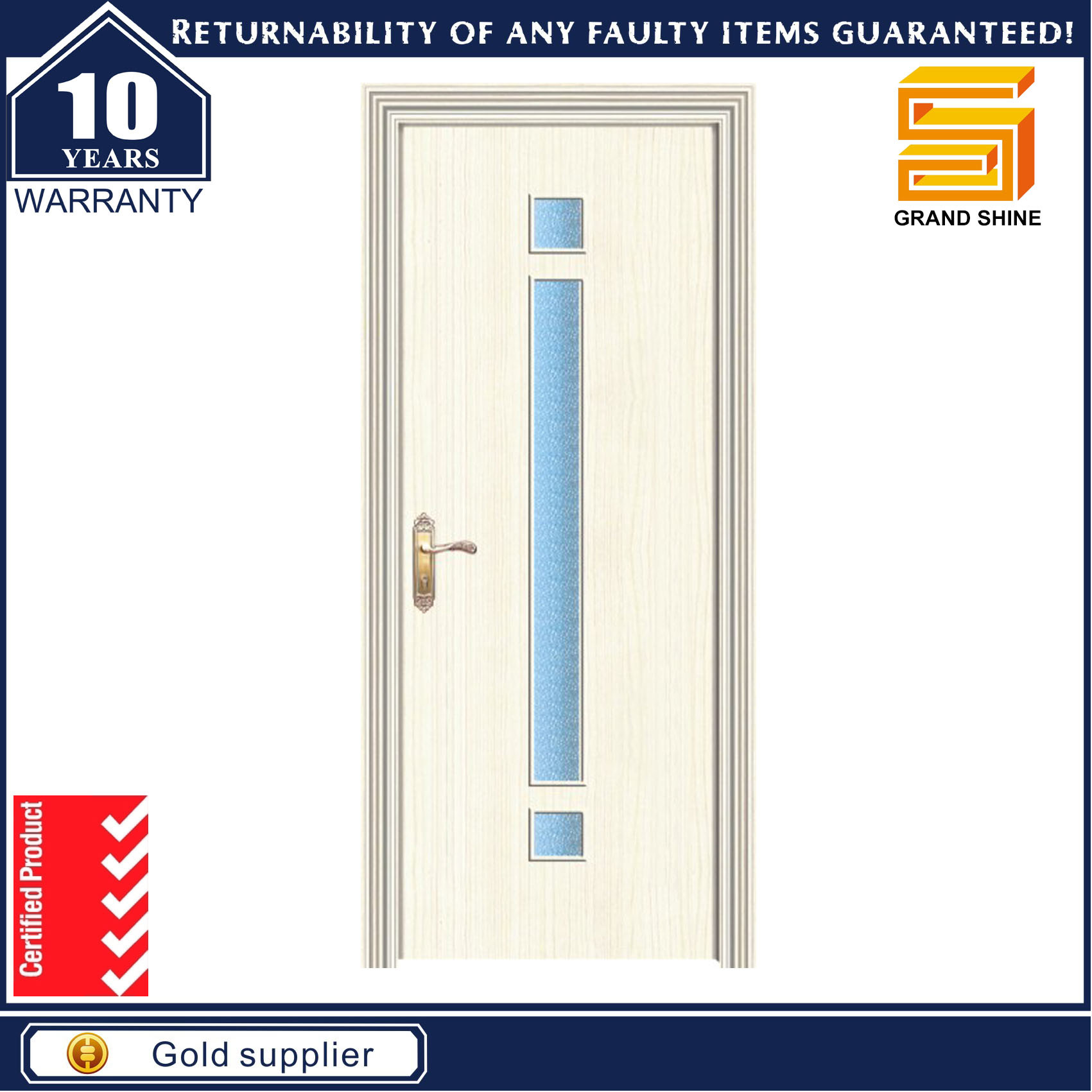 PVC Veneer MDF Wood Bathroom Laminated Wooden Glass Door