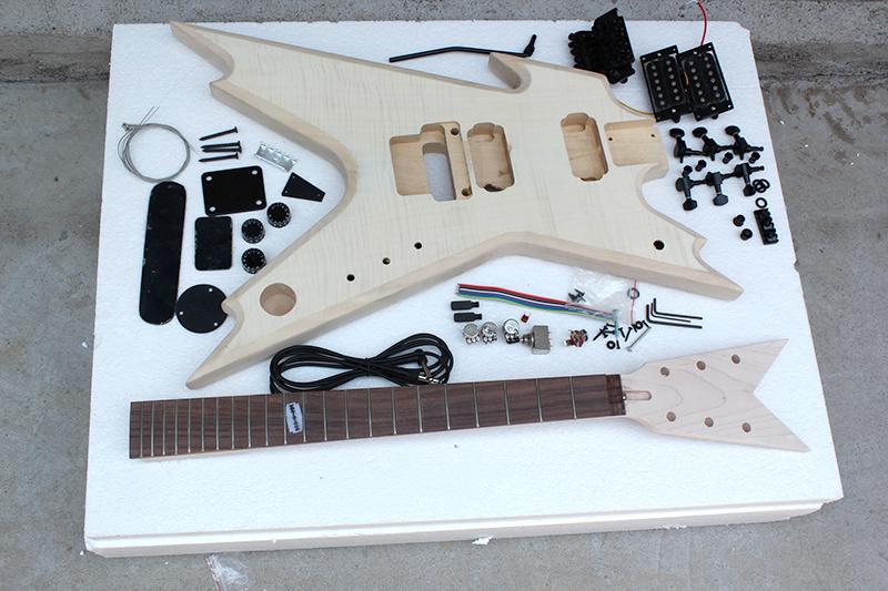 Hanhai Music / Unusual Shape Electric Guitar Kit with Flame Maple Veneer (DIY Guitar)