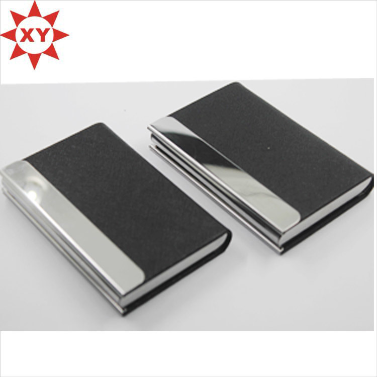 China Shiny Metal Black Leather Business Card Holder