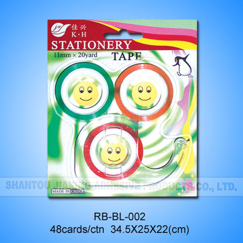 3colored Rolls Rainbow Tape with Dispenser in Blister Card
