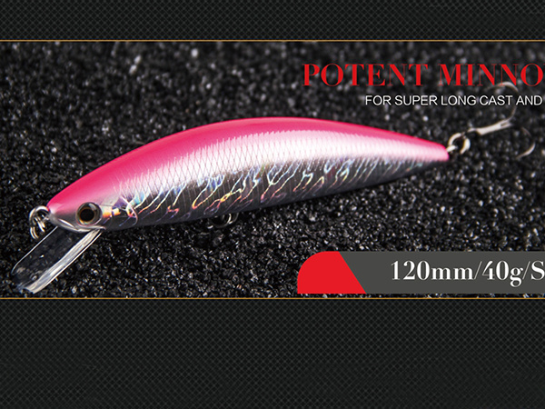 Plastic Fishing Lure (Potent Minnow 120mm Sinking)