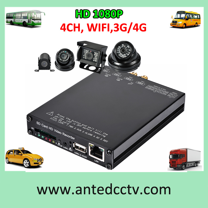 1080P 4 Channel 3G WiFi Car DVR for CCTV Security System
