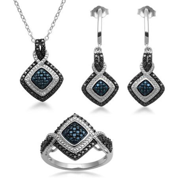 Black and White Diamond Jewelry Set 925 Sterling Silver